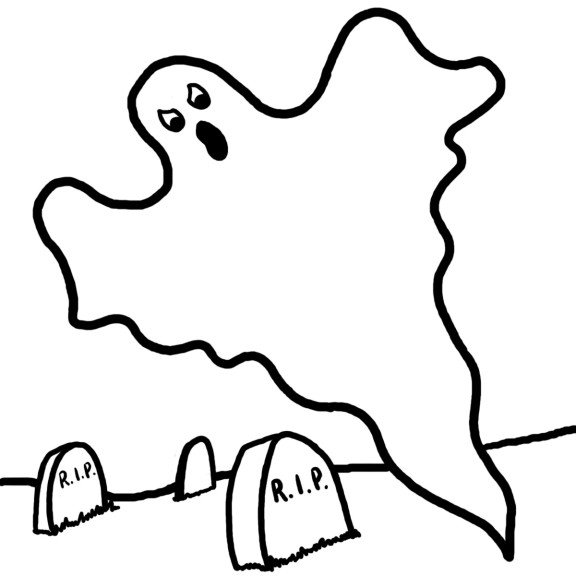 coloriage fantome cimetiere