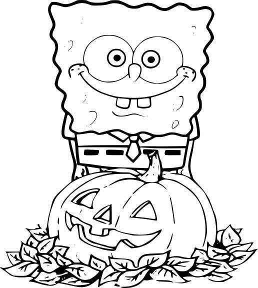 Coloriage bob l ponge halloween imprimer - Bob l eponge halloween ...