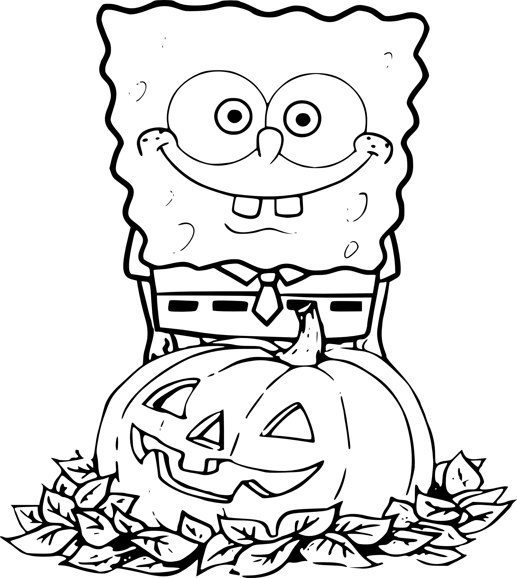 Coloriage Bob L Eponge Halloween A Imprimer