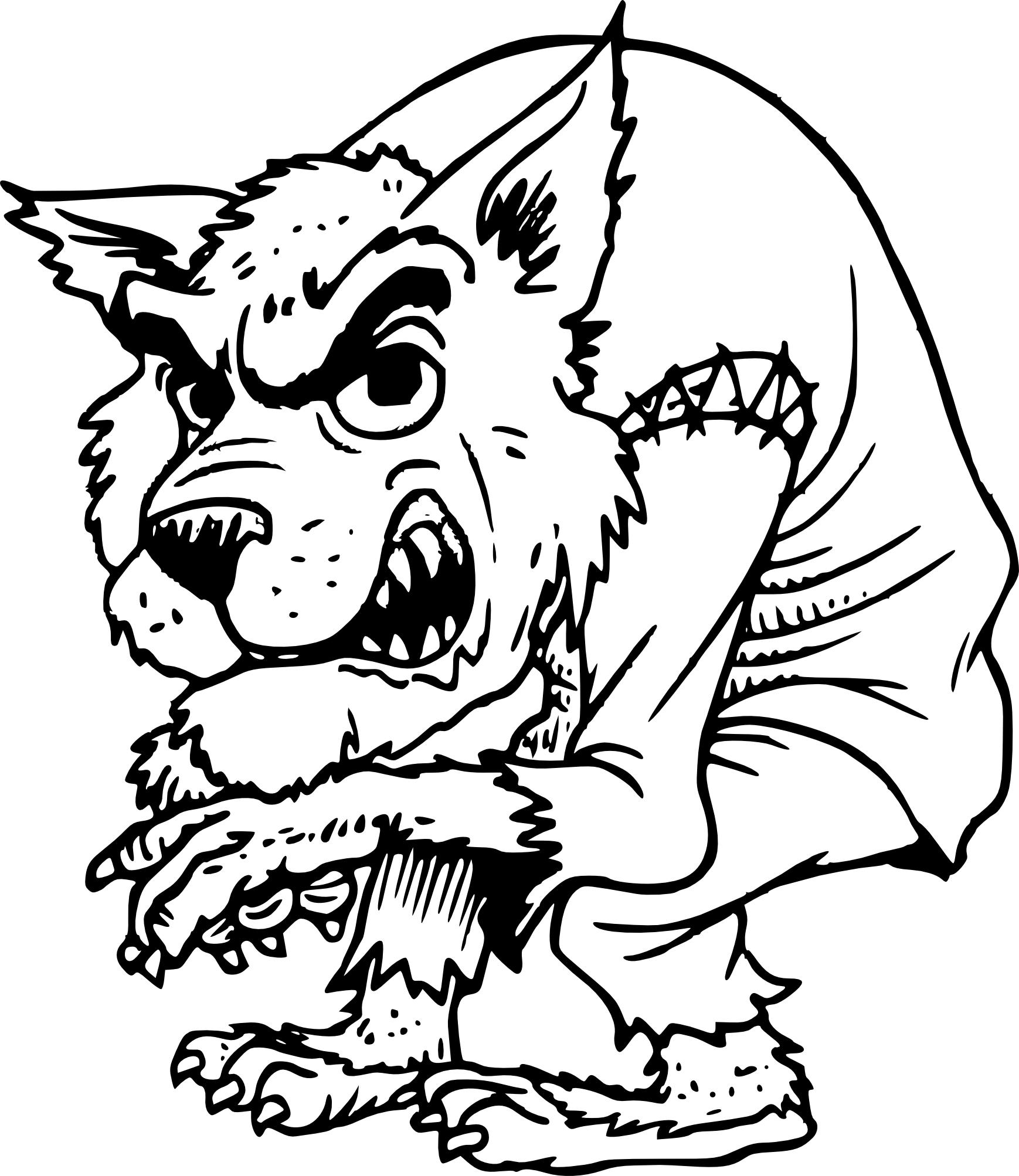 Coloriage méchant Loup Garou à imprimer