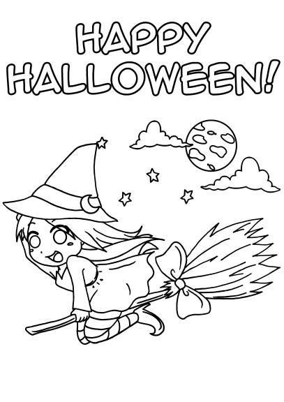 Coloriage sorciere manga halloween
