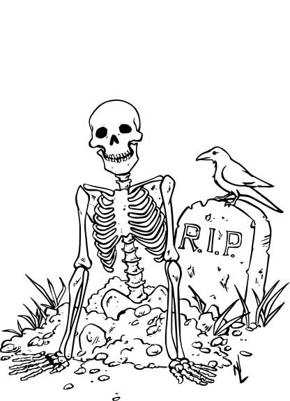 Coloriage squelette dans un cimeti re imprimer - Coloriage squelette halloween ...