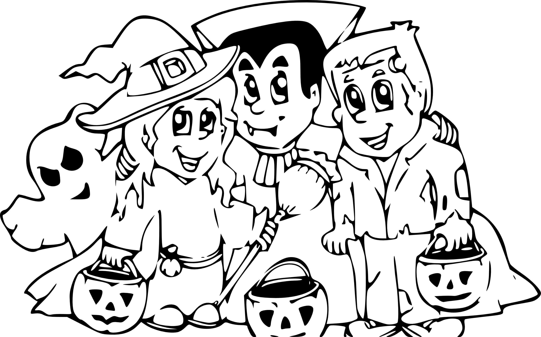 Coloriage famille Halloween à imprimer