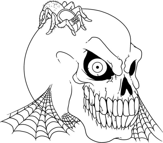 Coloriage squelette t te imprimer - Dessin monstre halloween ...
