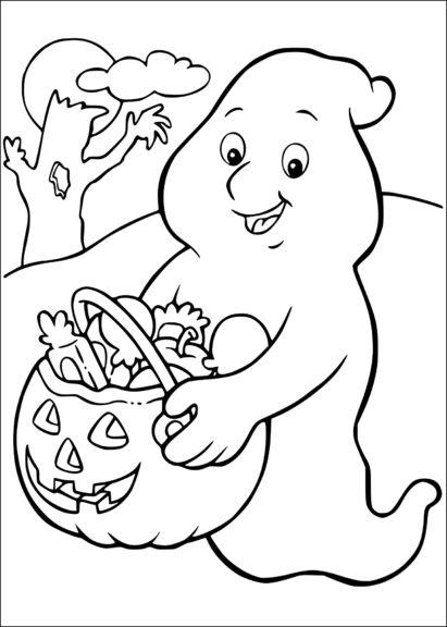 Coloriage fantôme avec des bonbons