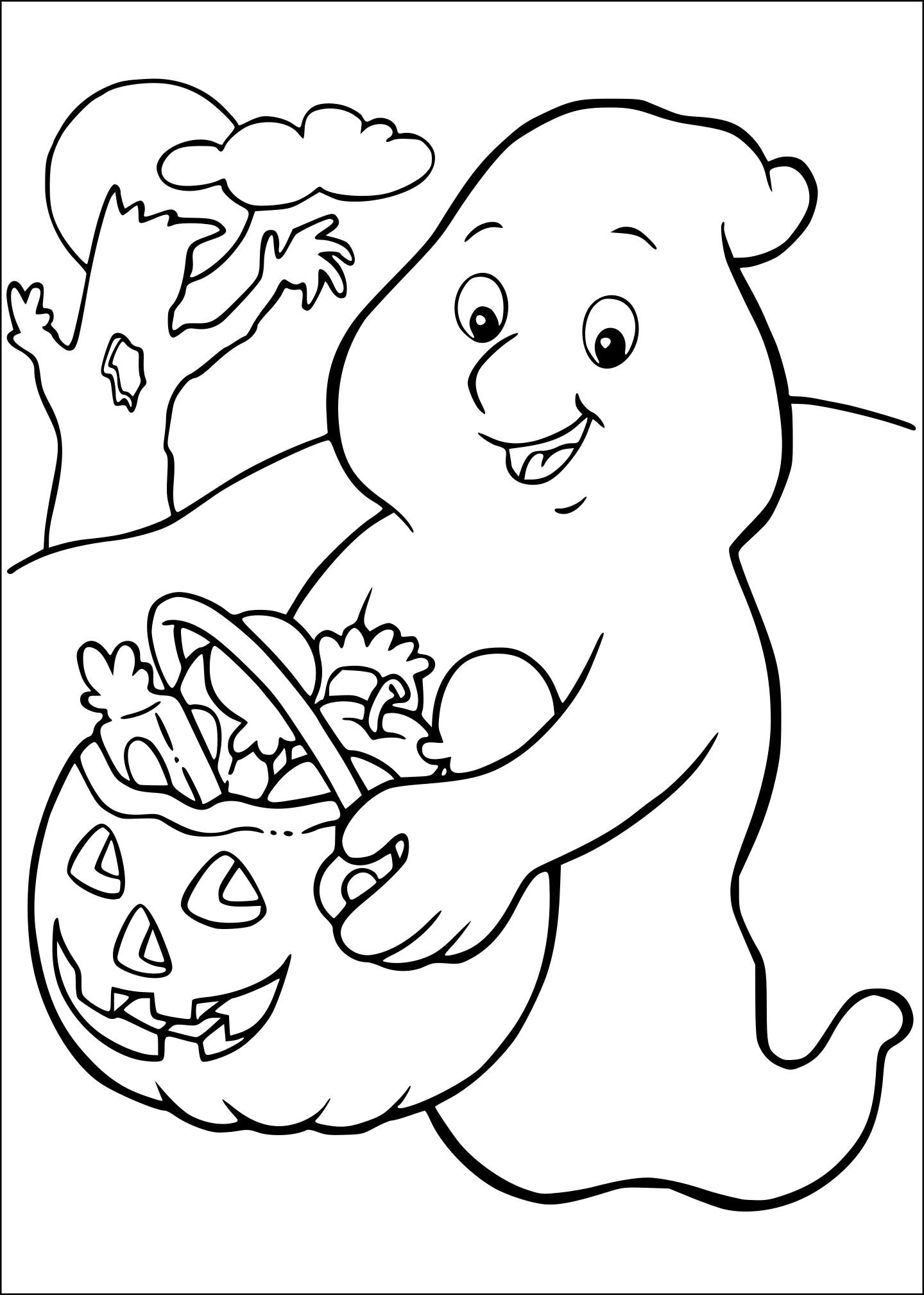 Coloriage Fantôme Avec Des Bonbons à Imprimer